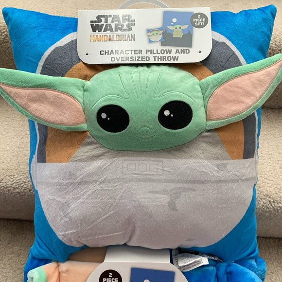 star wars baby yoda pillow and throw