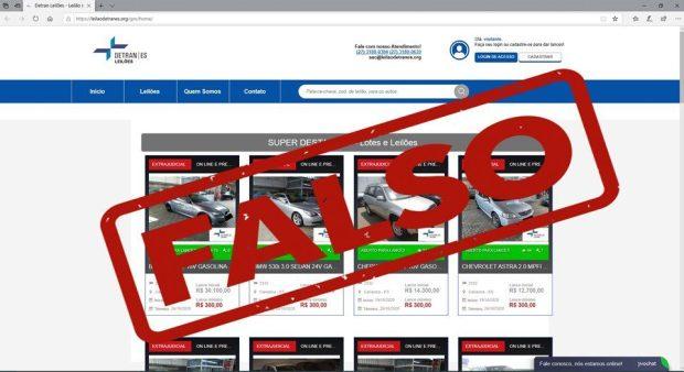 Detran|ES alerta para site falso de leilão em nome do órgão