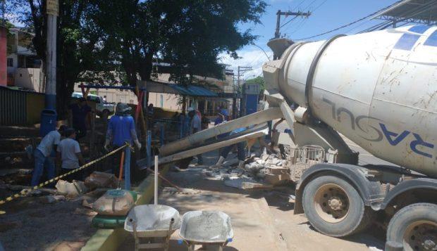 Trecho de galeria de drenagem do Nova Brasília é recuperado