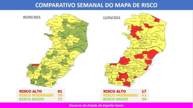 Cachoeiro e outras 16 cidades do ES estão em risco alto para Covid-19
