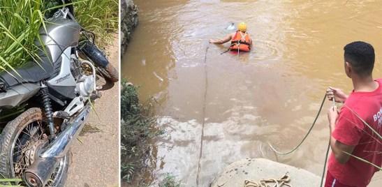 Moto resgatada dentro de rio no Sul. Nenhuma vítima foi encontrada no local