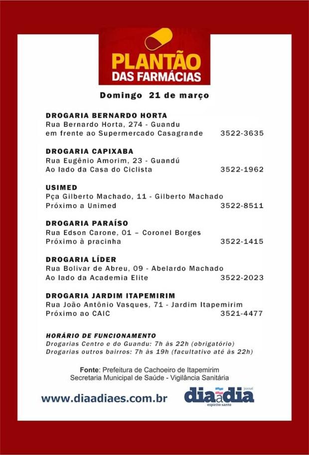 Veja as farmácias de plantão em Cachoeiro neste domingo, dia 21