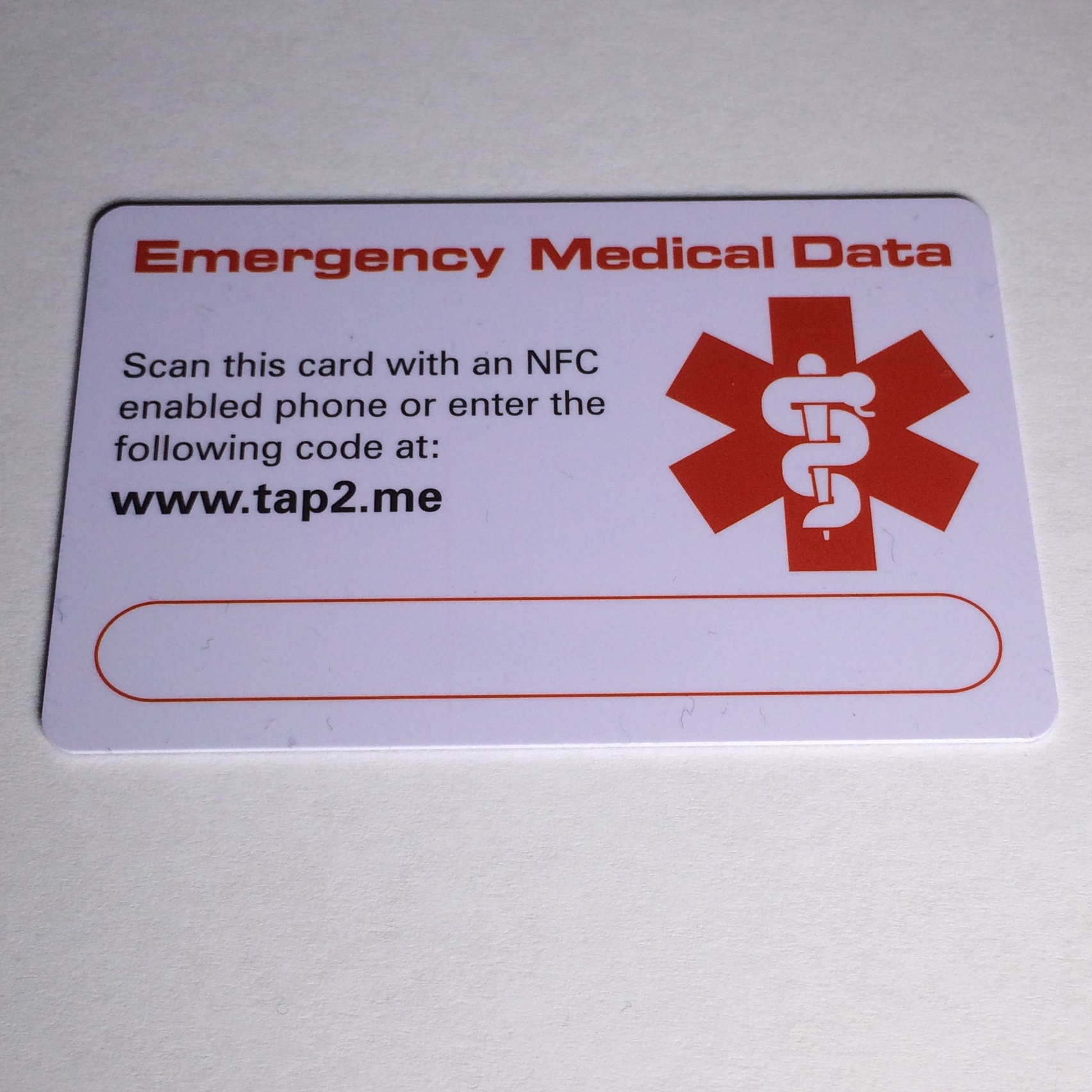 Tap2Tag medical ID card with NFC technology.