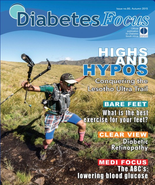 Cover of Diabetes Focus magazine Darol Howes Lesotho Ultra Trail