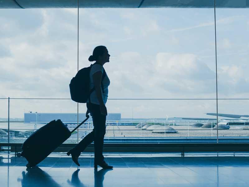 Woman walking in airport