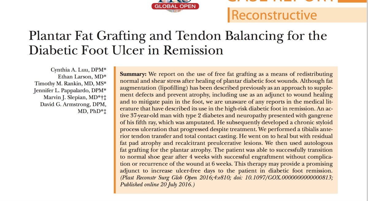Plantar Fat Grafting and Tendon Balancing for the Diabetic Foot in Remission