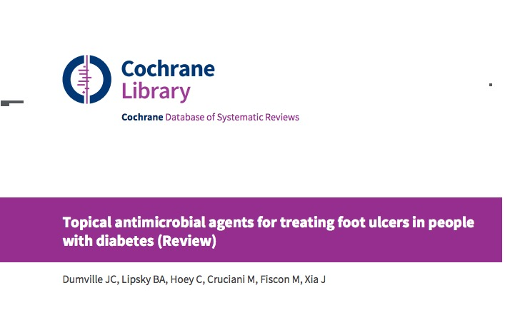 Topical antimicrobial agents for treating foot ulcers in people with diabetes