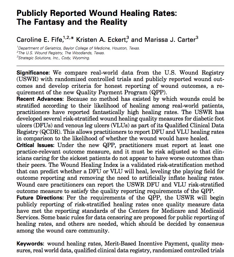 Wound Healing Rates: The Fantasy and The Reality...30.5%, 29.6% and 44.1% 12-week healing for DFU, PU and VLUs @USWoundRegistry