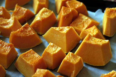 Cut pumpkin to make puree. DiabeticGourmet.com