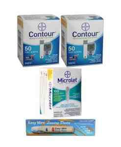 CONTOUR + MICROLET LANCETS + EASY MINI LANCING DEVICE