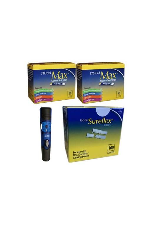 Nova-max-test-strips-nova-surflex-lancets-lancing-device