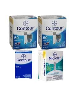CONTOUR + MICROLET LANCETS + CONTROL SOLUTION LOW