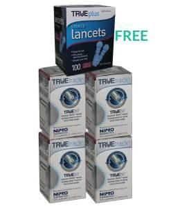 4 TRUETRACK TEST STRIPS 50ct + TRUEPLUS LACETS (FREE)