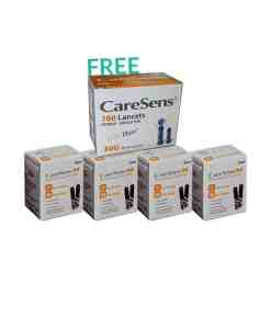 200 CARESENSE N TEST STRIPS + 100 LANCETS (FREE)