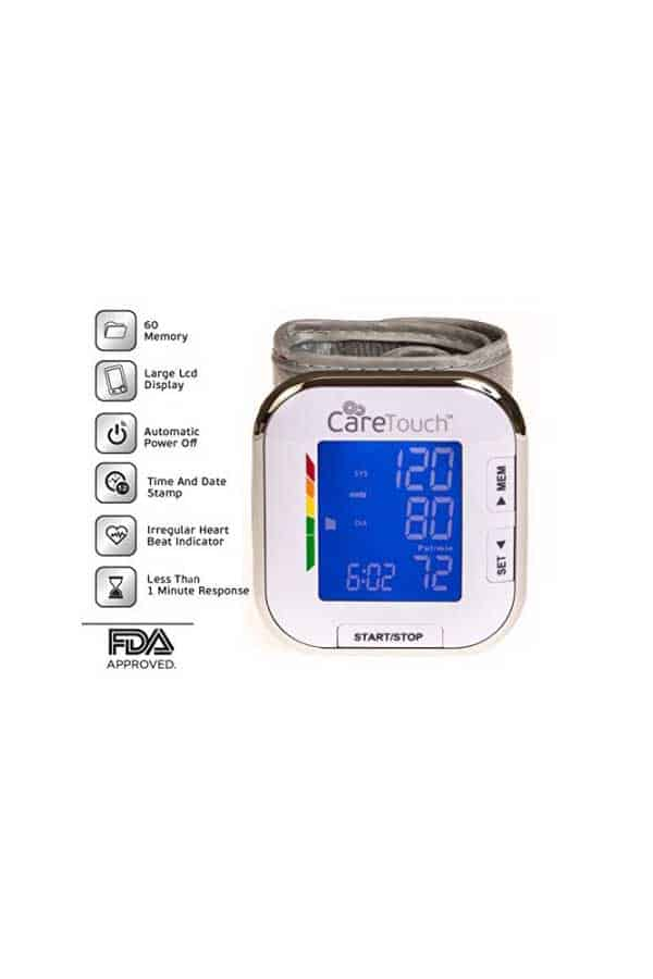 Caretouch Fully Automatic Wrist Blood Pressure Monitor Platinum