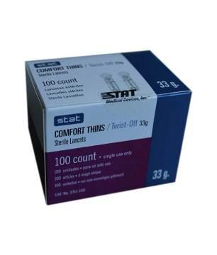 Stat-Comfort-Thins-Twist-off-lancets-33g-100-count-box