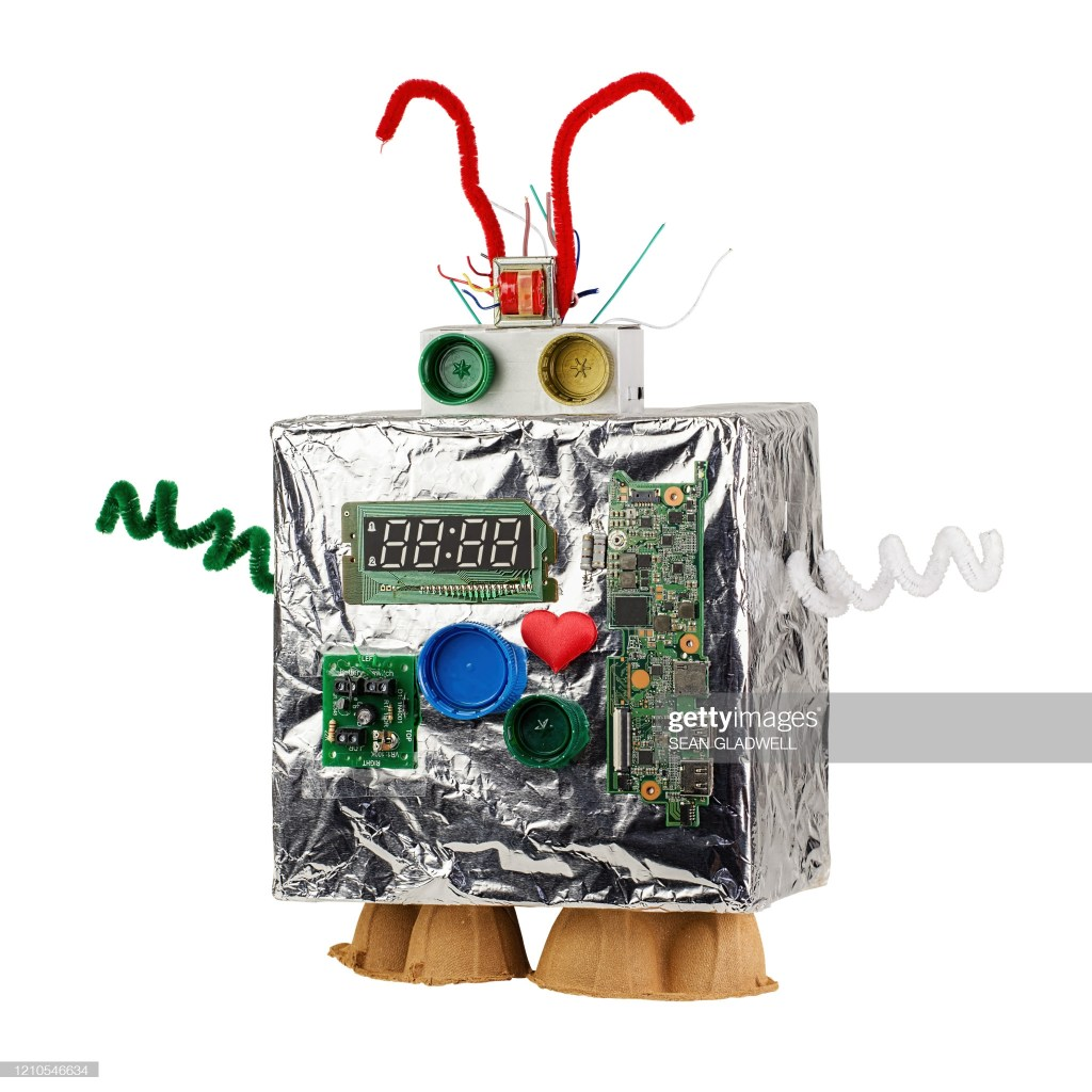 Isolated homemade robot on white background