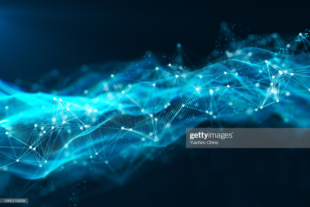 Digital data of particle wave and network connection on black background.