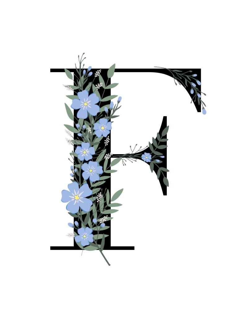 f, floral, scrapbooking