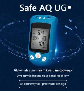 Safe AQ UG. Glukometr z pomiarem kwasu moczowego. Dwa testy jednocześnie, z jednej kropli krwi. Dokładne wyniki i praktyczna obsługa.
