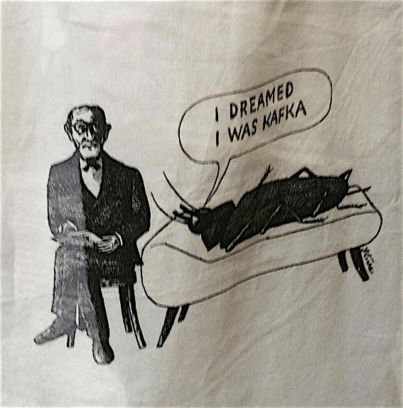 dessin sur un totebag vendu à la boutique Kafka de Prague © Ch. Marcandier