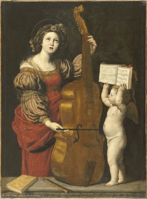 Le Dominiquin, Sainte Cécile avec un ange tenant une partition (1617 ou 1618)