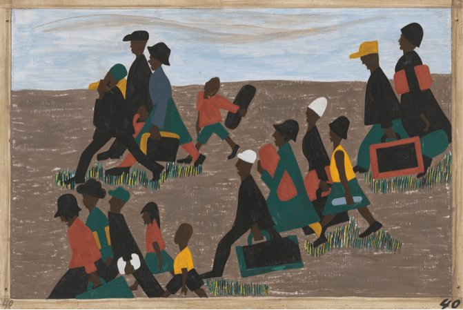 Jacob Lawrence, Migration series, n°40 : The Migrants arrived in great number, 1940-1941