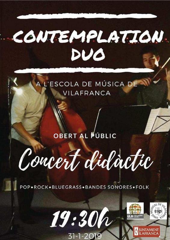 El conjunt, Contemplation Duo, actuarà dijous que ve a la vesprada a l'Escola de Música de Vilafranca