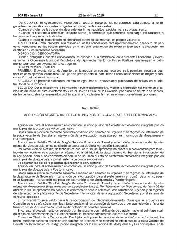 BASES PARA LA PROVISION MEDIANTE CONCURSO OPOSICIÓN UN PUESTO ÚNICO DE SCRETARÍA INTERVENCION, AGRUPACION MOSQUERUELA PUERTOMINGALVO-1_Página_01