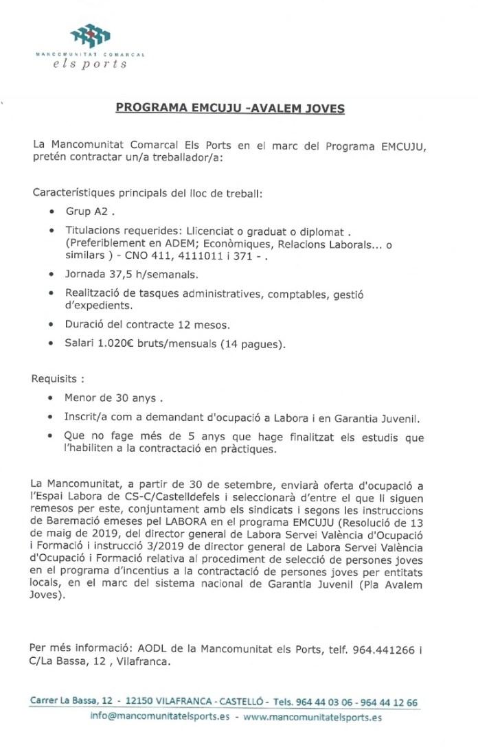 OFERTA DE TREBALL MANCOMUNITAT