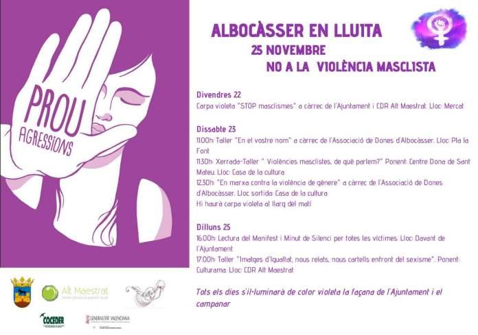Cartell del 25N a Albocàsser