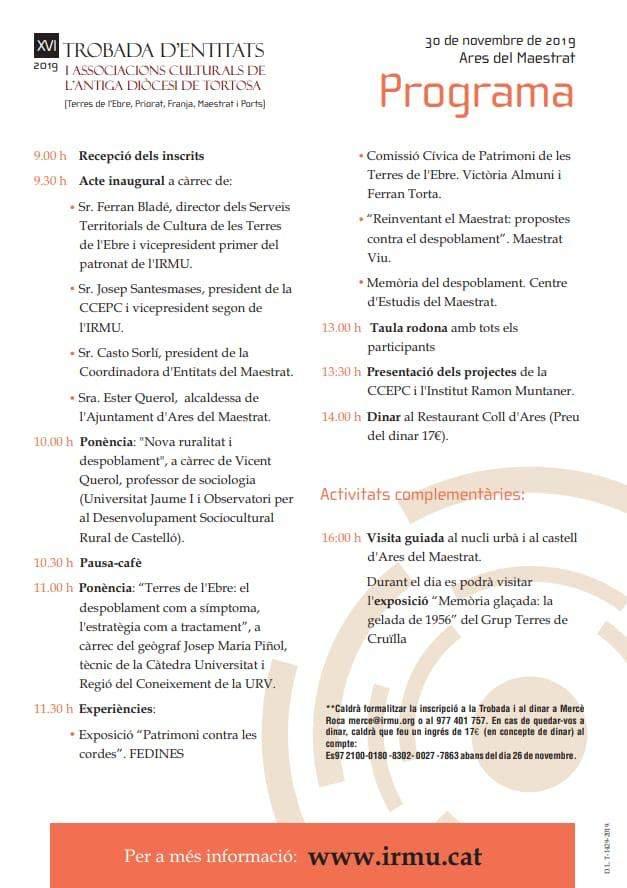 XVI Trobada d'entitats i associacions culturals de l'antiga Diòcesi de Tortosa