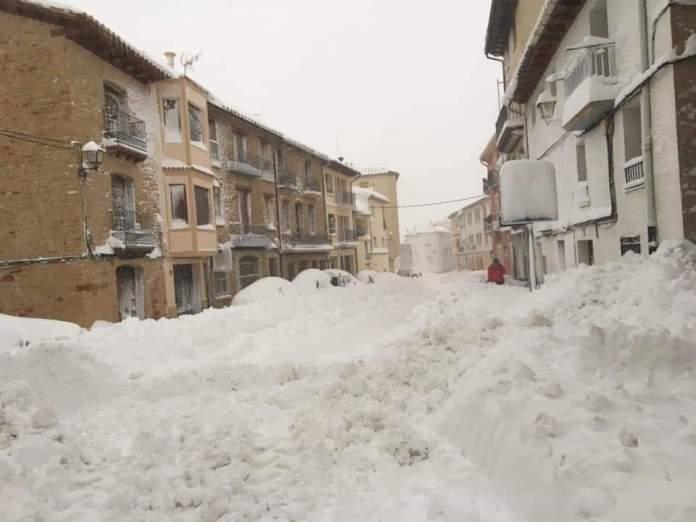 Nieve en La Iglesuela del Cid, enero 2020