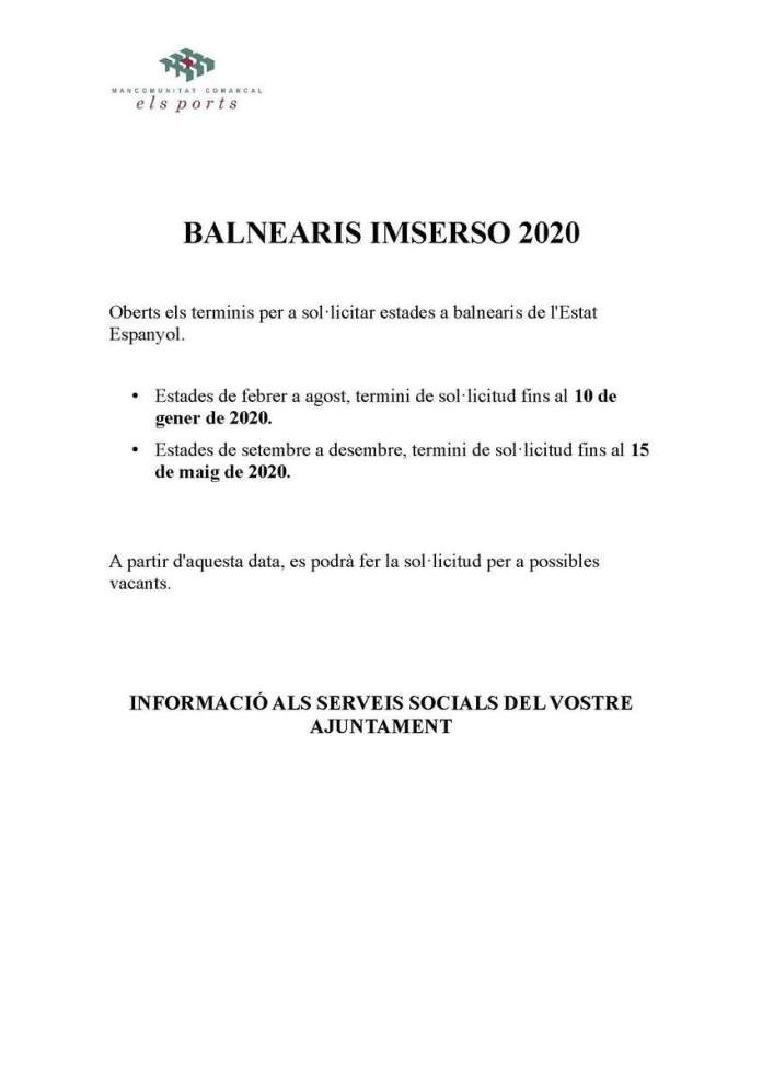 Cartell Balnearis Imserso 2020