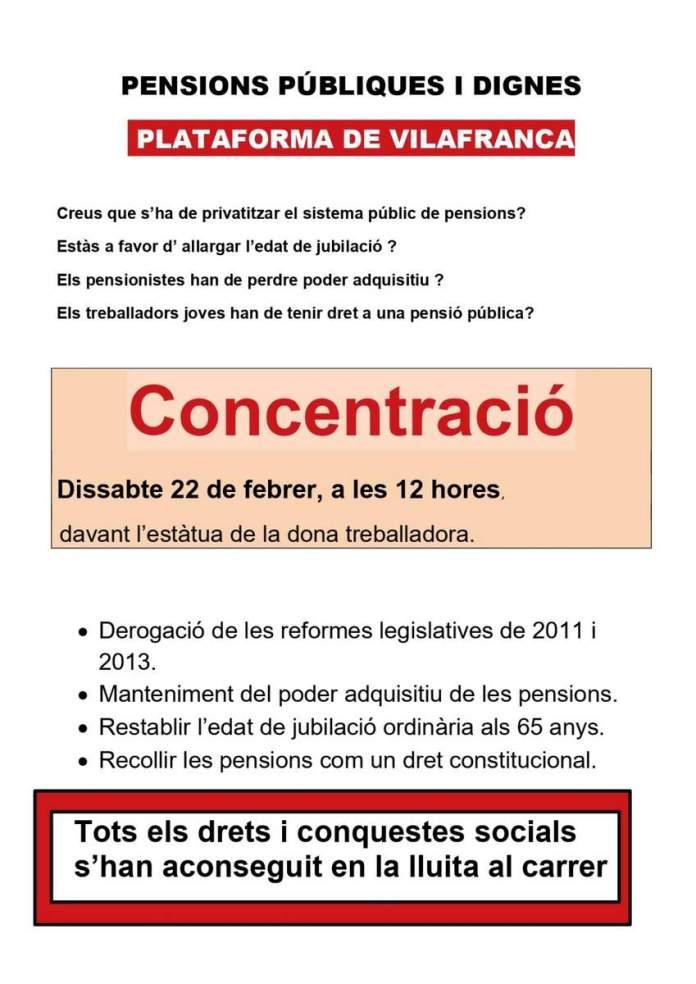 Cartell de la concentració en defensa de pensions públiques i dignes