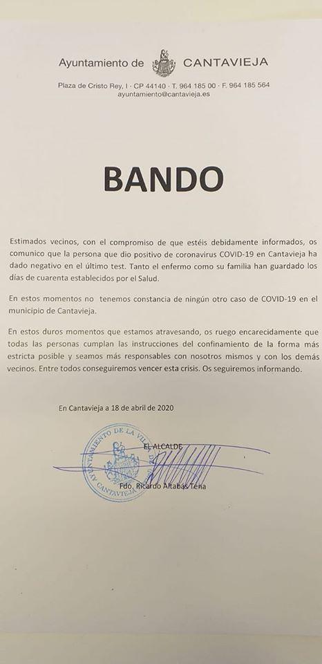 Bando del Ayuntamiento de Cantavieja