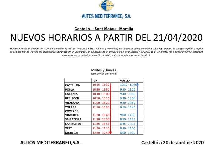 Nous horaris de l'autobús Morella-Sant Mateu-Castelló