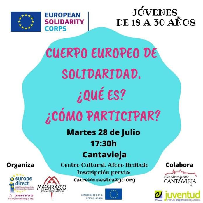 Cartel de la sesión informativa sobre el Cuerpo Europeo de Solidaridad en Cantavieja