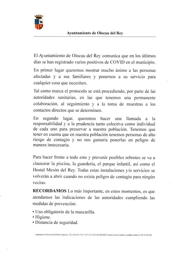 Comunicado del Ayuntamiento de Olocau del Rey