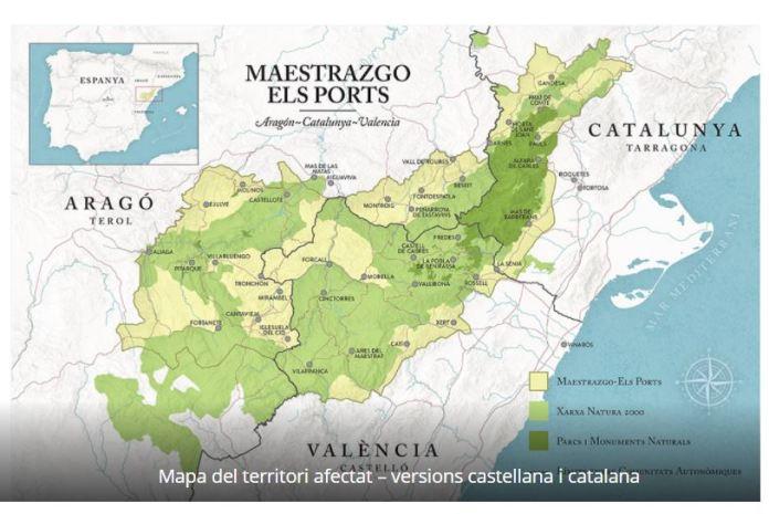 Mapa del territori afectat per la iniciativa Maestrazgo - Els Ports