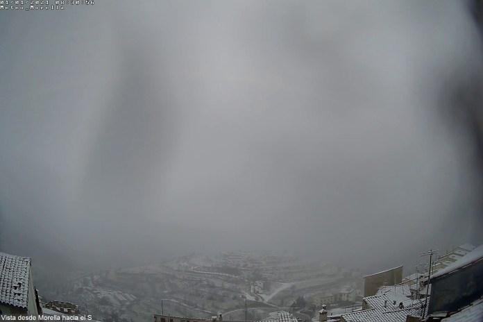 Neu a Morella captada per la càmera d'Avamet-Meteo Morella