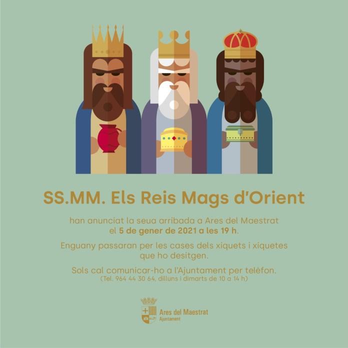Arribada de Melcior, Gaspar i Baltasar a Ares del Maestrat