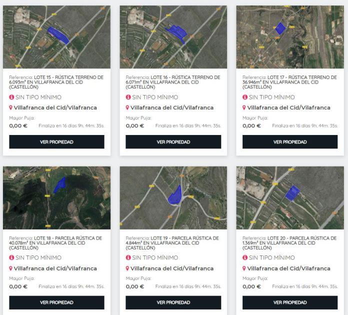 Detall dels terrenys subhastats a Vilafranca
