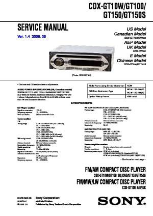 SONY CDX GT150100 CDX GT150 987986305 pdf Diagramas de