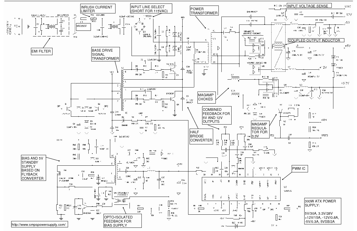 Atx Power Supply Schematic Diagram Pictures To Pin On