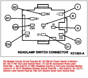 9495 Mustang Headlight Switch Connector Diagram