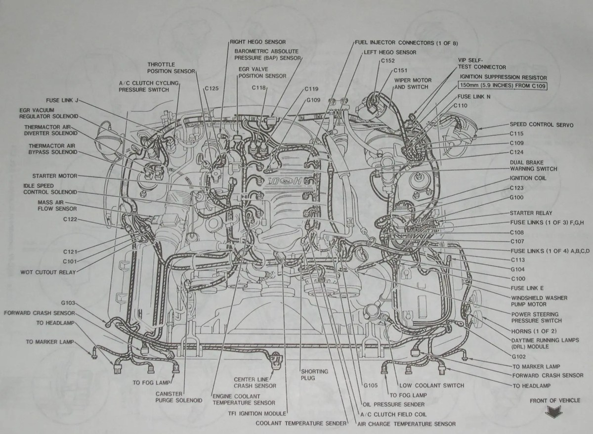 94 95 mustang 5 0 detailed mustang engine layout Ford F 150 Wiring Diagram