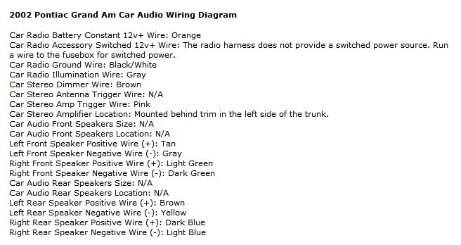diagram pontiac grand prix stereo wiring harness diagram