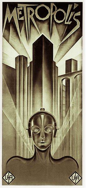 """Metropolis"" (1927). Heinz Schulz-Neudamm design minus the German writing. Photo: theguardian.com"