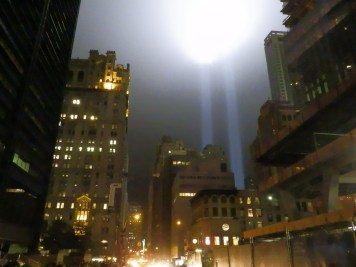The Tribute in Light, from the corner of Cortlandt Street and Trinity Place.